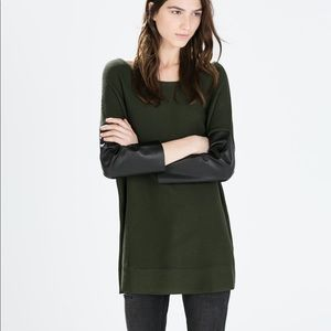 Zara Knit | Ribbed Sweater Faux Leather Sleeves
